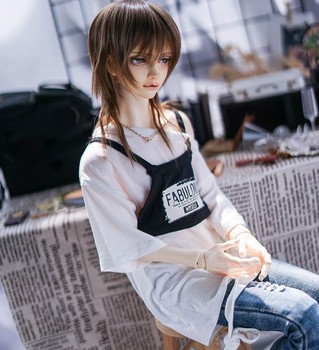 2pcs New BJD Doll Clothes T-shirt for 1/3 1/4 uncle DD T-shirt Vest White Blue loose casual doll accessories