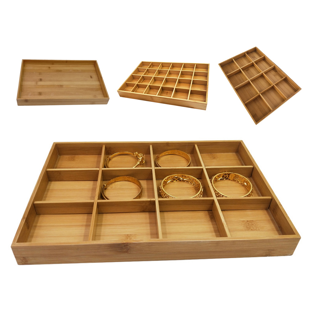 Bamboo Wood Jewelry Drawer Organizer Tray Stackable Showcase Display Earring Ring Necklace Storage