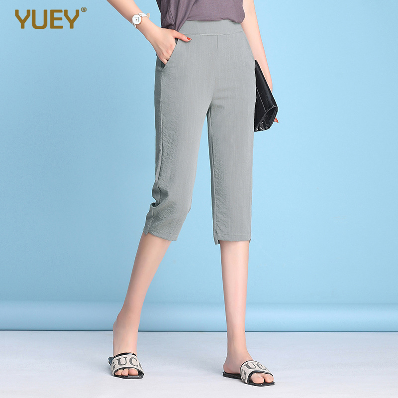 YUEY ice silk cotton casual pants summer new large size cropped trousers women's straight solid color knee length capri s to 4xl