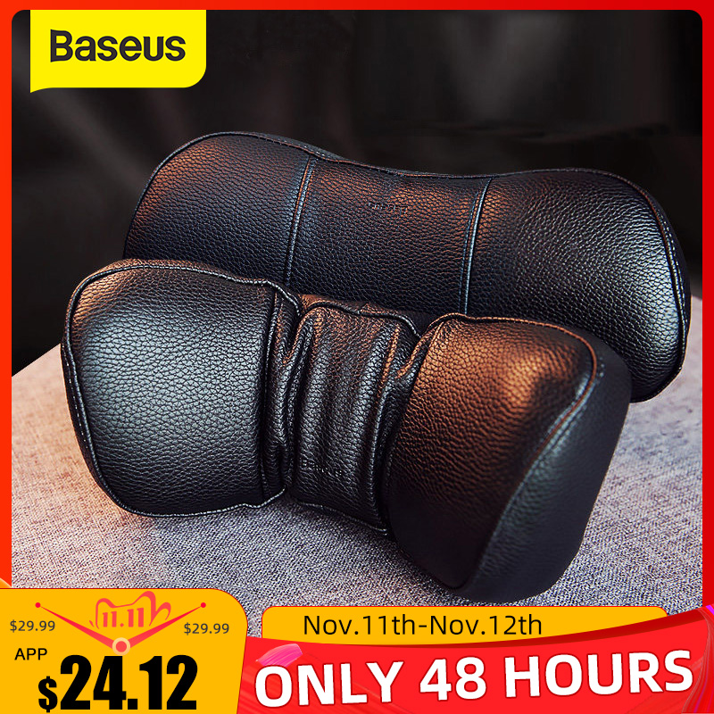 Baseus Car Neck Pillow Headrest Pillows PU Leather   Memory Cotton Auto Neck Rest Cushion Pad Travel Neck Headrest Accessories