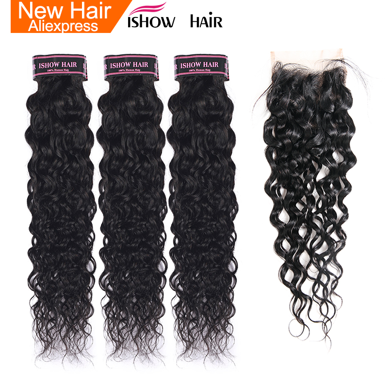 Ishow Hair Water Wave Bundles Indian Hair Weave 3 Bundles With Closure  More Wavy Non Remy Human Hair With  Lace Closure
