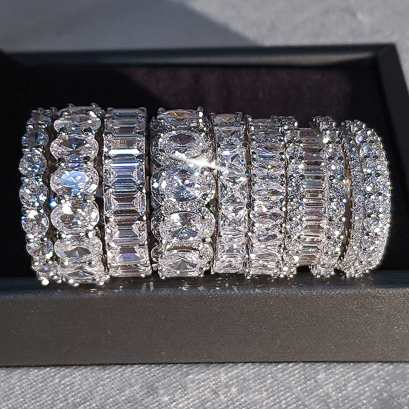 luxury 925 sterling silver wedding band eternity ring for women big gift for ladies love wholesale lots bulk jewelry R4577 3