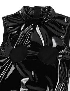 Image 5 - Сексуальный Wetlook лакированный кожаный костюм для женщин с высокой горловиной без рукавов открытые чашки двойная молния эротические костюмы в стиле купальника латексный боди