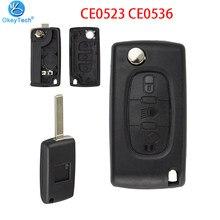 OkeyTech 2 3 4 botón remoto llave de coche para Peugeot 207, 307, 308, 407 Citroen C2 C3 C4 C5 Flip caso clave de CE0523 CE0536 HU83 VA2