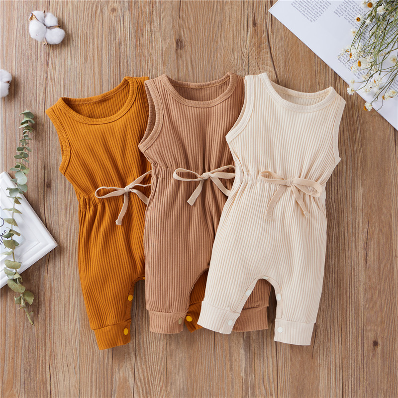 Newborn Infant Baby Boys Girls Romper Cotton Knitted Ribbed Sleeveless Solid Elastic Band Jumpsuit Toddler Soft Clothes Outfits