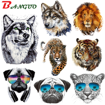 Wild Animals Iron On Patches Tiger Lion Leopard Wolf Heat Transfer Thermal Stickers For Women Clothes DIY Iron-On Patch Applique