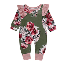 купить Floral Baby Girl Romper Infant Rompers Winter Cotton Warm For Newborn Clothes 3M 6M 12M 18M Ruffle Sleeve Kids Jumpsuit D35 онлайн
