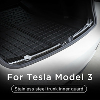 Black Auto Bumper Protector Guard Trim Anti Scratch Rear Trunk DIY Car Accessories Stainless Steel Decorative For Tesla Model 3