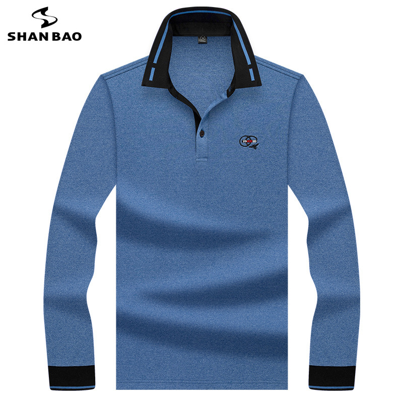 SHANBAO Men's Business Fashion Casual Long-sleeved Polo Shirt 2020 Spring New Youth Brand Clothing Embroidery Cotton Polo Shirt