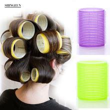 Nissi jumbo rollers de cachos 6pçs, cacheadores de cabelo com aderência automática, design de cabeleireiro, modelado e adesivo, para diy ou