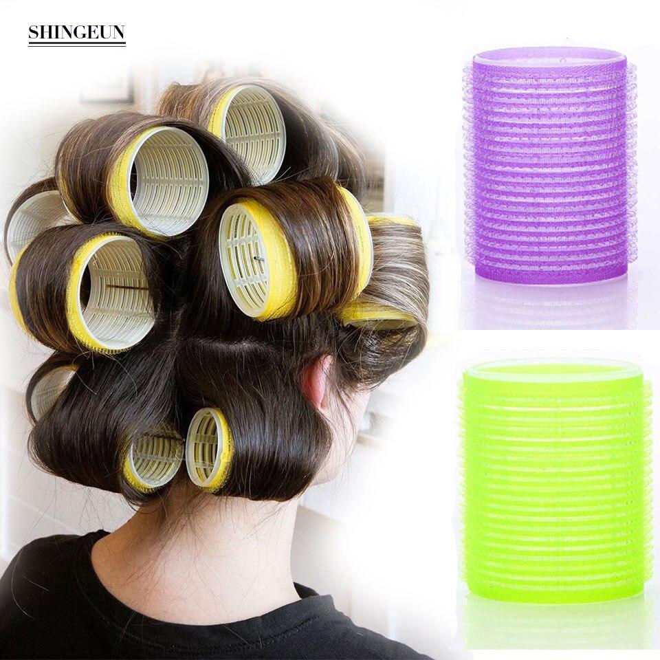 Rolos de cabelo jumbo nissi 6 pces rolos de auto aperto segurando rolos de cabeleireiro rolos de cabelo design de cabelo pegajoso adere estilo para diy ou