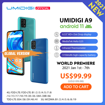 "UMIDIGI A9 Android 11 Global Version 13MP AI Triple Camera 3GB 64GB Helio G25 Octa Core 6.53"" HD+ 5150mAh Cellphone Pre-Sale"