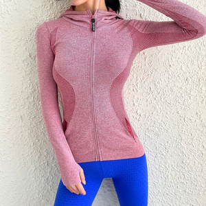 Women Sport Jacket Zipper Yoga Coat Clothes Quick Dry Fitness Jacket Running Hoodies Thumb Hole Sportwear Gym Workout Hooded Top(China)
