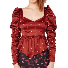 KHALEE YOSE Red Polka Dot Blouse Shirt Autumn Labelle Peplum Chiffon Blouses Ruffles Long Puff Sleeve Square Neck Sexy Top Shirt цена 2017