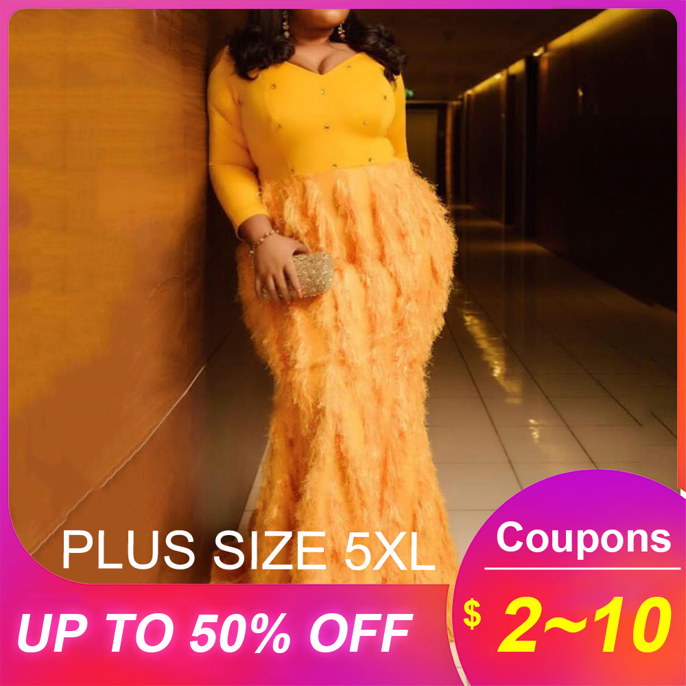 Yellow Long Mermaid Party <font><b>Club</b></font> <font><b>Dress</b></font> Women Autumn African Female Feather Trumpet Maxi <font><b>Dresses</b></font> Robe 2019 Plus Size <font><b>5xl</b></font> Vestiods image