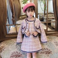 Girls Autumn Winter New Fragrance Vest Dresses New Girls Plaid Coat+dress 2 pieces Elegant Jackets Dress Suits for Girls CL191