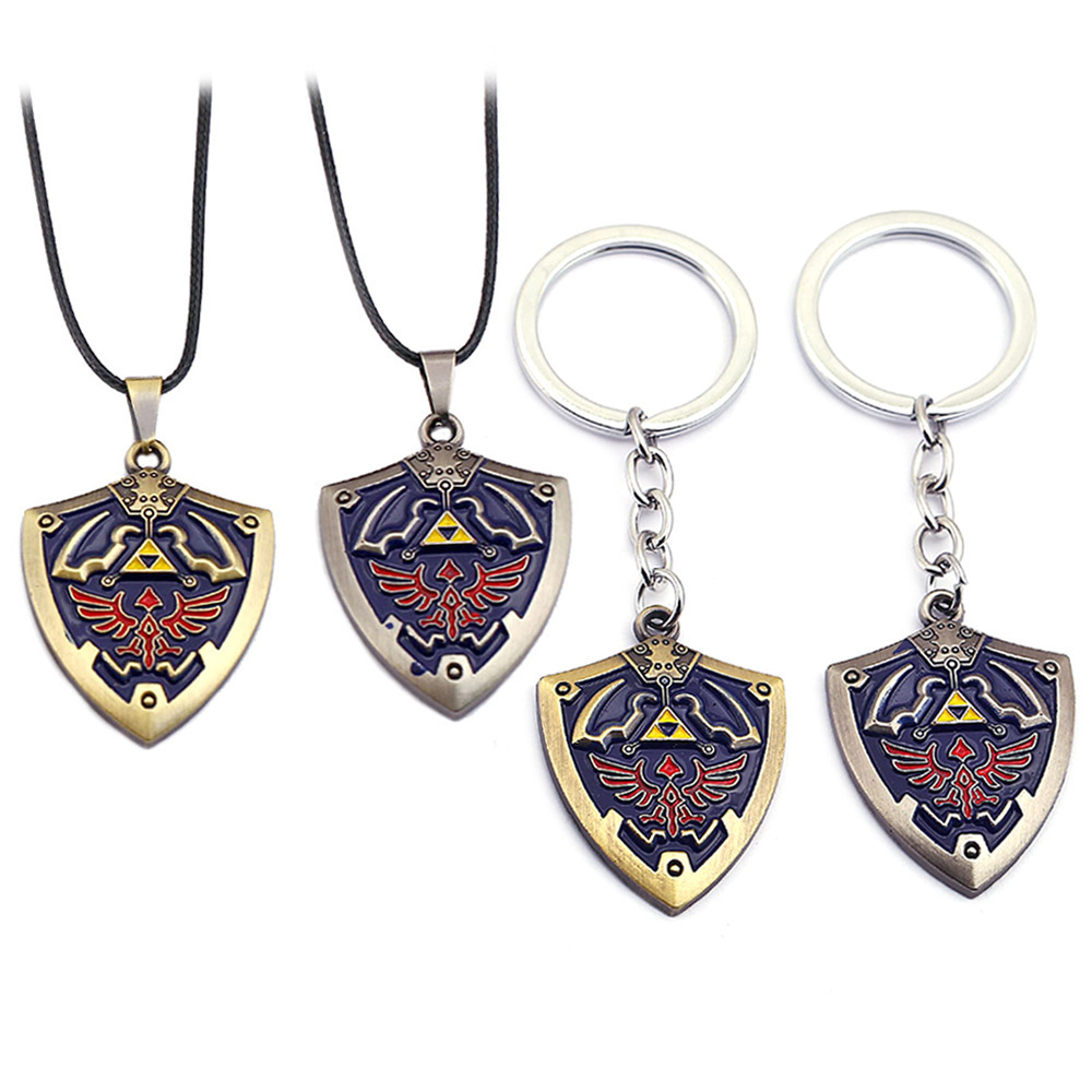 Game Anime The Legend Of Zelda Cosplay Costume Props Necklace Keychain Haylia'S Shield Alloy Pendant Gift Accessories Jewelry
