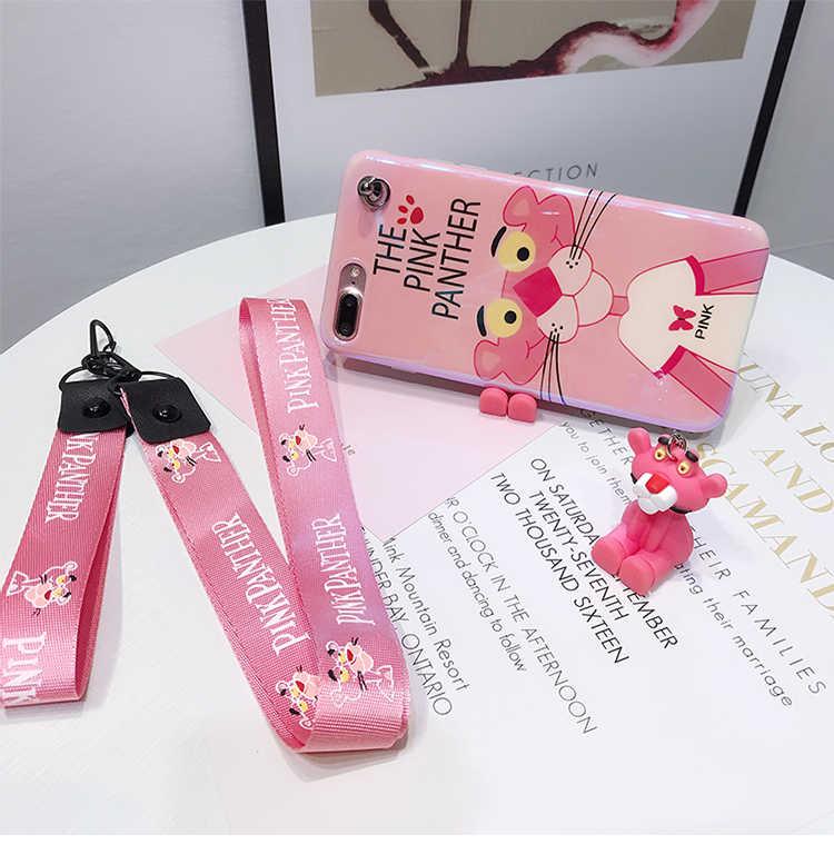 Для iphone 8 8plus розовый чехол пантера, милый мягкий чехол из гладкой кожи для iphone XS max XR X 6 6splus 7 7p Fudas + игрушка + ремешок
