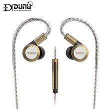 DUNU DM380 고해상도 선형 레이아웃 트리플 티타늄 다이어프램 드라이버 HiFi 액티브 크로스 오버 마이크가있는 이어폰 형 이어폰