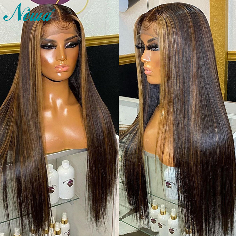 Newa Hair Colored Straight Lace Front Human Hair Wigs Highlight HD Lace Frontal Wig Honey Blonde Brazilian 4x4 Lace Closure Wigs pre    - AliExpress