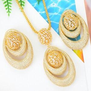 Image 2 - Godki novo luxo exclusivo círculo colar brinco conjuntos para o casamento feminino nupcial zircondubai cúbico high end conjunto de jóias 2019