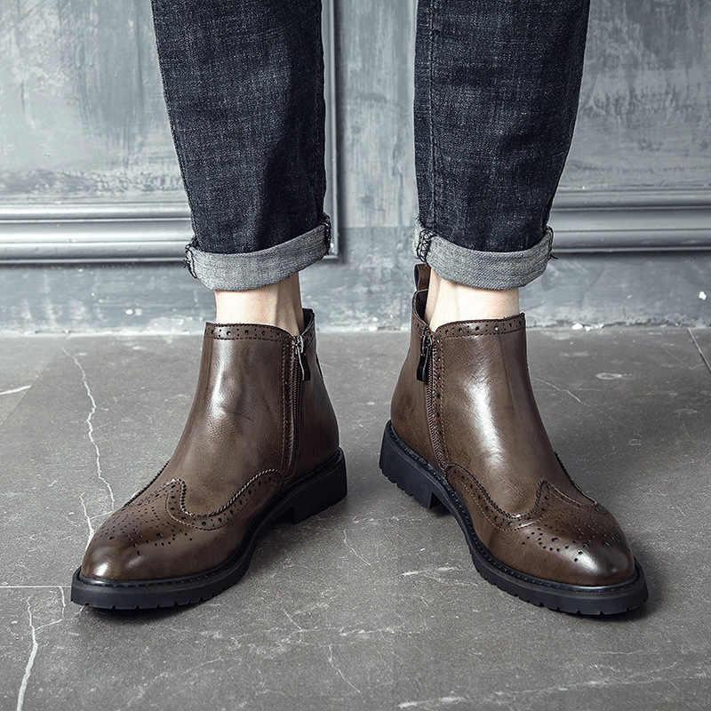 Engeland stijl mannen casual business chelsea laarzen zwart bruin brogue enkellaars puntschoen slip bullock schoenen gentleman botas