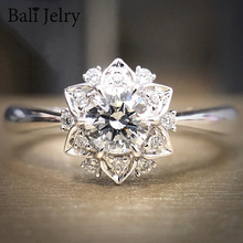 Rings Jewelry Charm Zircon Wedding-Engagement-Accessories Flower-Shaped Gemstones 925-Silver