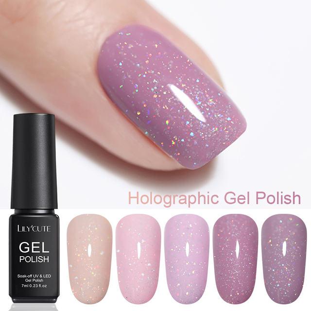 LILYCUTE Holograhic Nail Glitter UV Gel