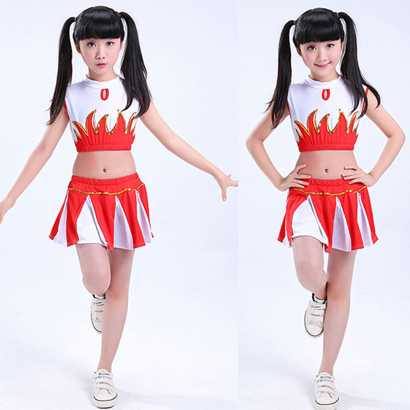Style Student Cheerleader Uniform School Girl Dance Costumes Sports Competition Kids Stage Performance Clothing 110-160CM