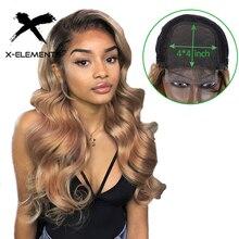 Перуанские волнистые блонд парики шнурка 4x4 Закрытие парики с детскими волосами Remy кружева Закрытие человеческих волос парики для черных женщин предварительно сорванные
