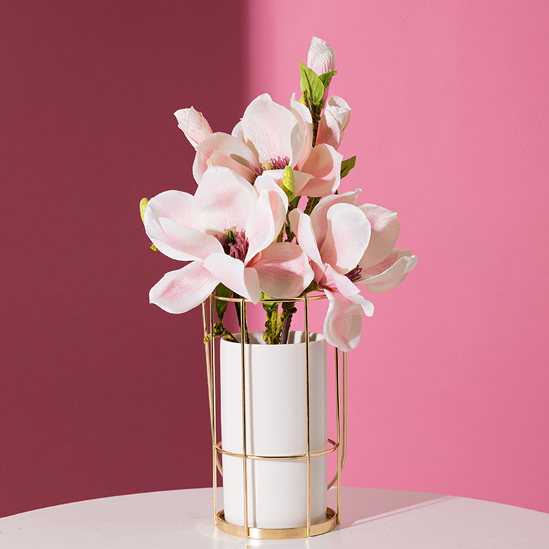 1pc Portable Ceramic Vase With Iron Gold Shelf White Porcelain Flower Vase Home Decor Water Planting Container Without Hole