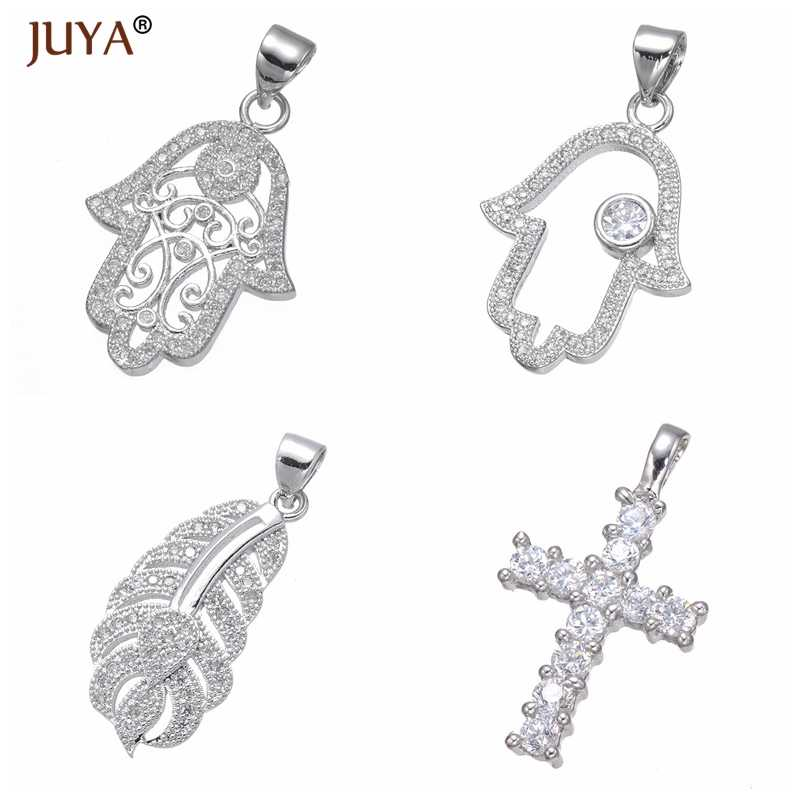 High Quality Copper Zircon Material Hamsa/Fatima Hand/Feather/Cross/Poodle Dog/Cat/Fairy Charms Pendants Jewelry Making DIY Gift