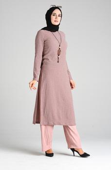 Minahill naszyjnik tunika spodnie podwójny garnitur 1057-01 proszek 1057-01 tanie i dobre opinie Aplikacje Bluzki i koszule Octan Dla dorosłych