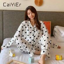Caiyier женская зимняя Пижама; Одежда для сна; Комплект с сердцем
