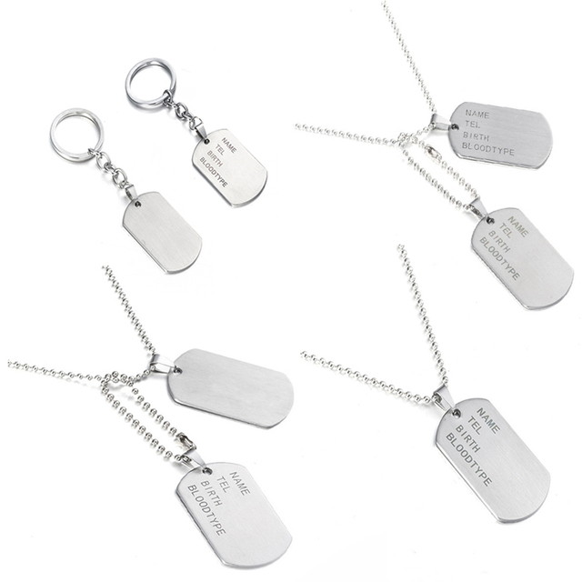Military Army Tactical Engraving Name ID Tags Cards Pendant Man Necklace&Pendants Stainless Steel Fashion Keychain Men Jewelry 1