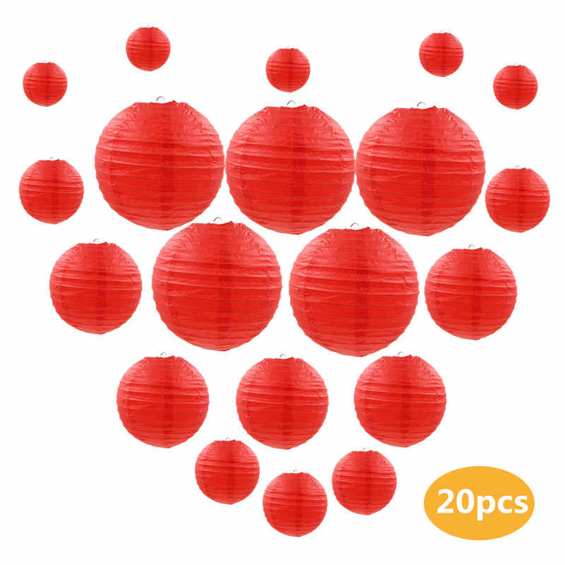 "20 Pcs/set 6""-12"" Red Chinese Paper lamp Lanterns Assorted Sizes Wedding Party Home Outdoor Hanging Decor lanterns"
