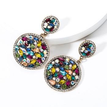 KMVEXO Colorful Crystal Drop Earrings Women Round Geometric Pendant Dangle Earrings Indian Bridal Statement Jewelry Party Bijoux 22