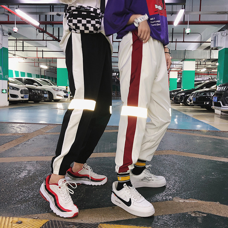 INS Super Fire Pants Men's Hip Hop BF Style Korean-style Trend Reflective Casual Pants Loose-Fit Couples Sports Ninth Pants