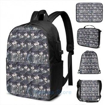 Funny Graphic print Kokichi Ouma USB Charge Backpack men School bags Women bag Travel laptop bag