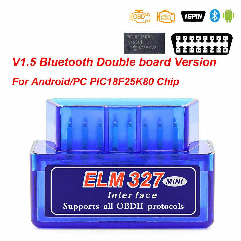 Mini ELM327 V1.5 PIC18F25K80 Bluetooth ELM 327 V1.5 Adapter Obd2 Máy Quét OBD 2 OBD2 Xe Chẩn Đoán Tự Động Công Cụ ODB2 Mã đầu Đọc