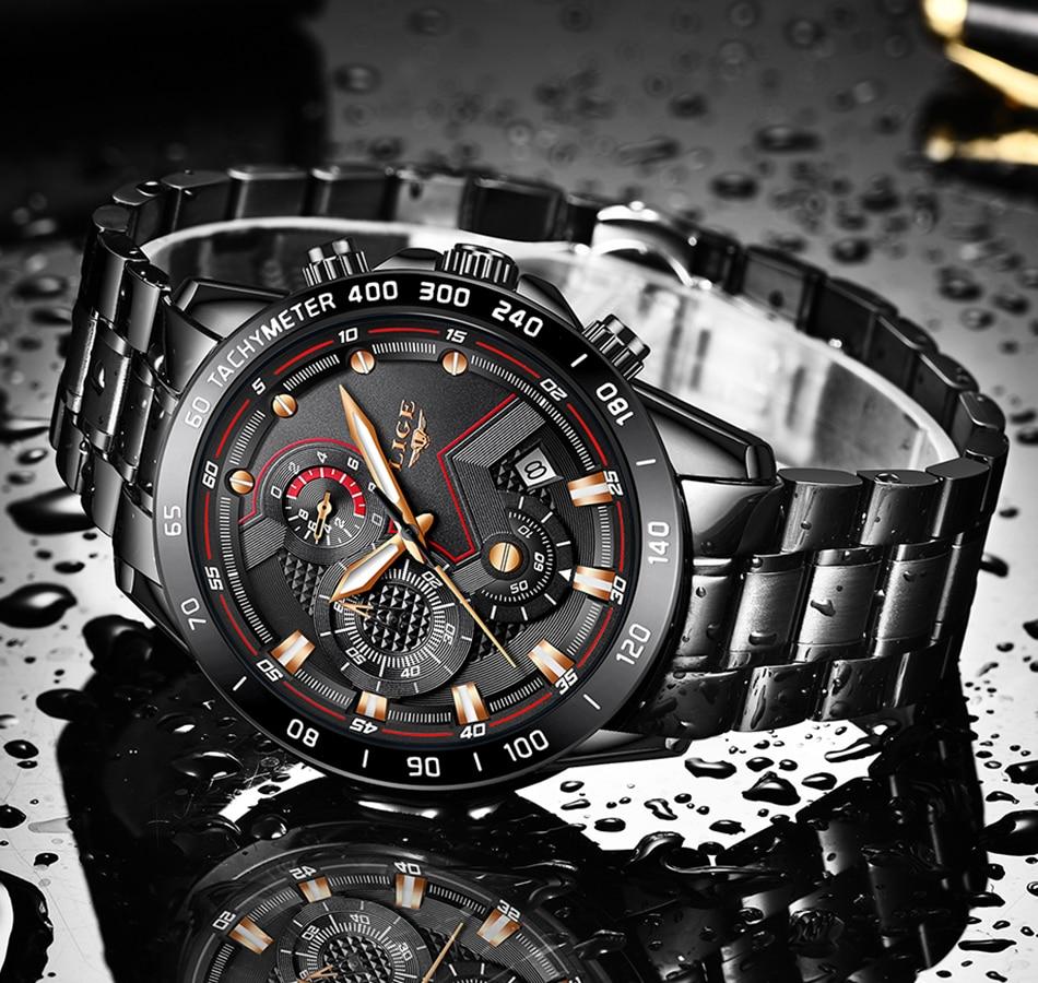 H88f9a73b32bc4bada999ab40ff405d557 2020 LIGE Fashion Mens Watches Stainless Steel Top Brand Luxury Sport Chronograph Quartz Watch Men Black Watch Relogio Masculino