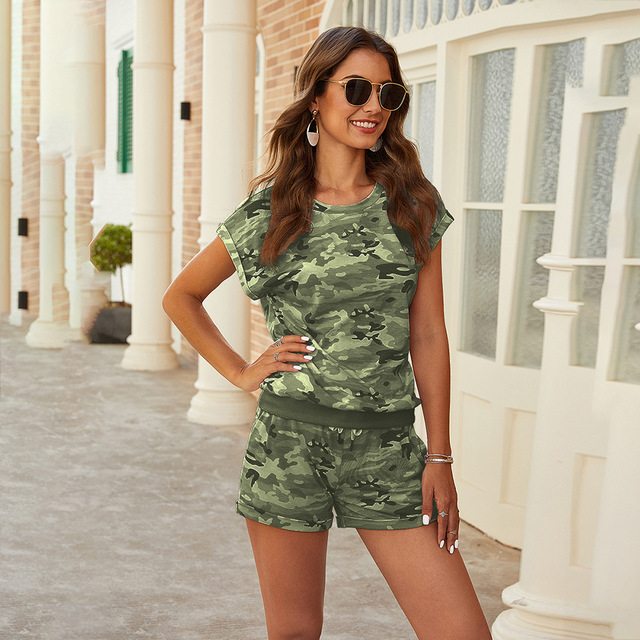Two Pieces Camo Printed Tracksuit Sets Casual Camouflage Printed T-shirt And High Waist Loose Shorts Sets WDC4556 4