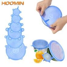 HOOMIN 6 шт Силиконовые эластичные крышки сковороды для приготовления пищи, миски, крышки для кастрюль, многоразовая силиконовая пищевая пленка, сохраняющая свежесть, кухонные инструменты