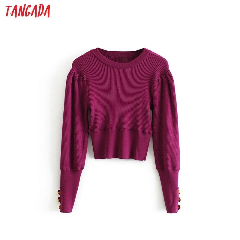 Women Solid Knitted Sweater Crop 2019 Autumn Winter Long Sleeve Lady Purple Pullovers Female Knitwear 3H342
