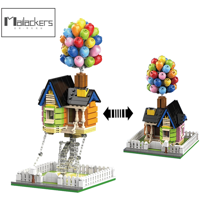 Mailackers Creator Expert Architecture Flying Balloon House Tensegrity Sculptures Modular City Building Blocks Creator House Toy 1