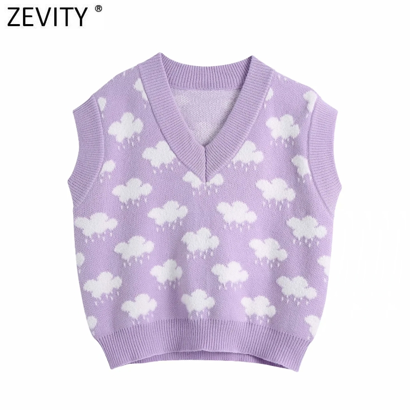 Zevity Women Fashion V Neck Cloud Pattern Knitting Sweater Female Sleeveless Casual Slim Vest Chic Leisure Pullovers Tops S669 2