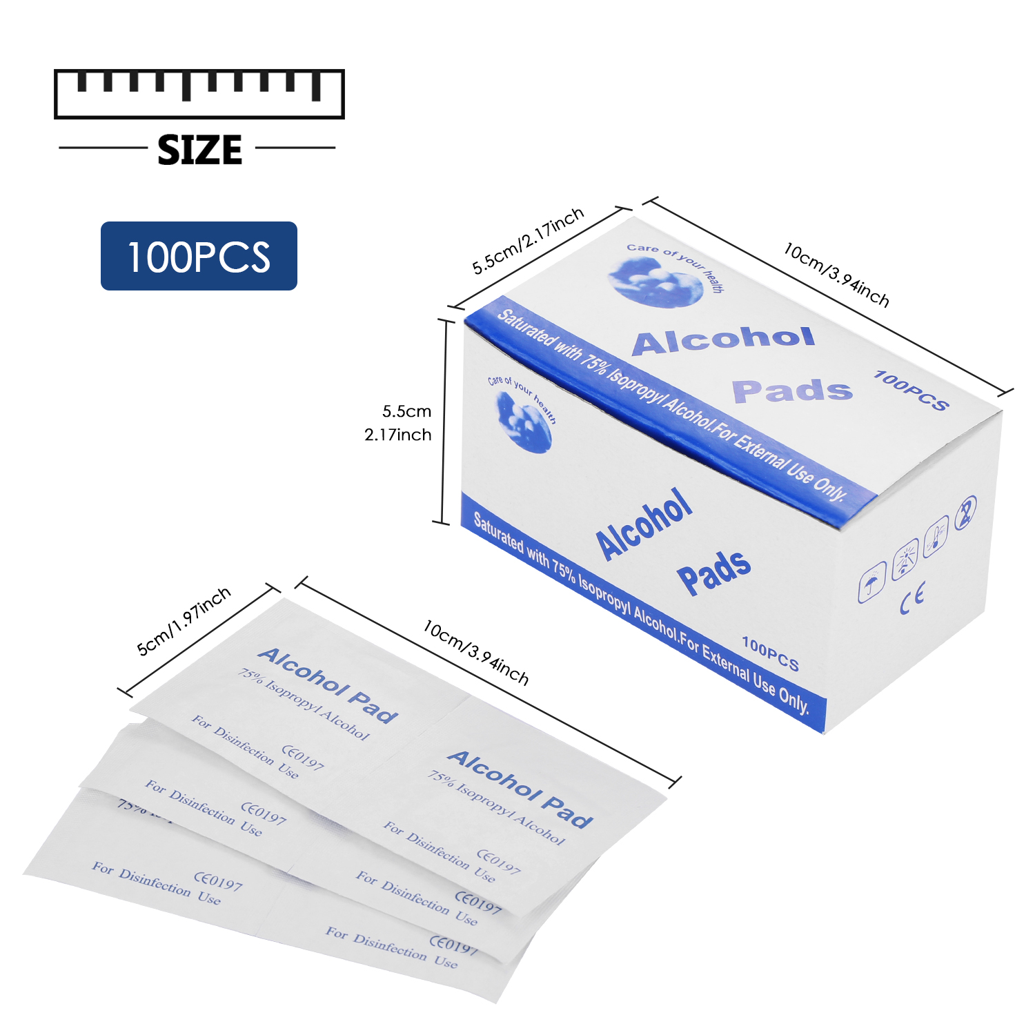 100pcs Alcohol Pad Disposable Alcohol Wipes Cleaning Cloth Alcohol Pads Wet Wipes For Mouse Wound Door Handles Elevator Buttons