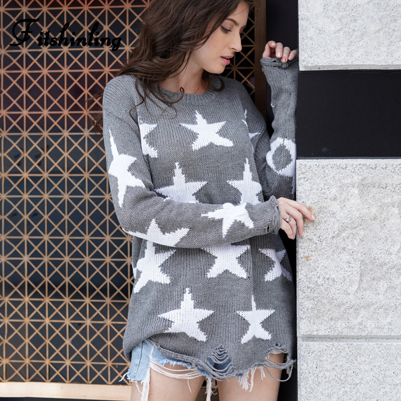 Fitshinling Korean Style Stars Womens Sweater Autumn Winter Pullover Knitted Jumper 2019 Long Sleeve Slim Grey Sweaters Women