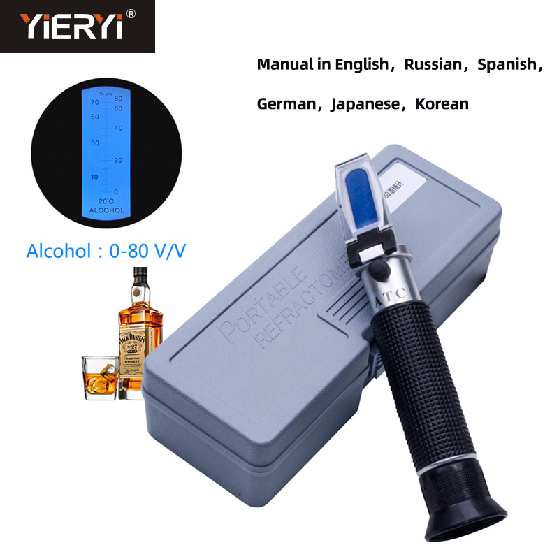 Yieryi Handhend Alcohol Concentration Detector Of Liquor Alcohol Meter Refractometer 0-80% V/v Alcoholometer Oenometer With Box