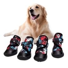 4 шт./компл. для домашних собачек водонепроницаемый обувь зимние супер теплые с рисунком собачки и котика ботинки Нескользящие туфли для маленькая собака породы чихуахуа Paw пленки